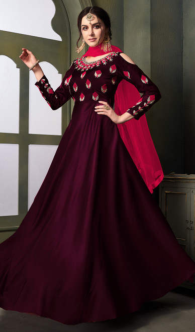 Wine Color Shaded Satin Silk Long Anarkali Suit