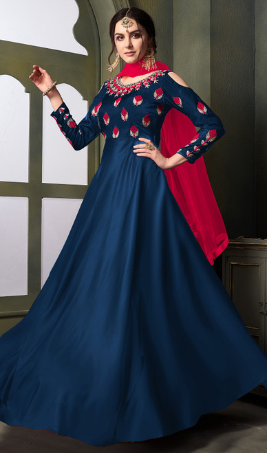 Long Anarkali Suit in Blue Color Embroidered Satin Silk