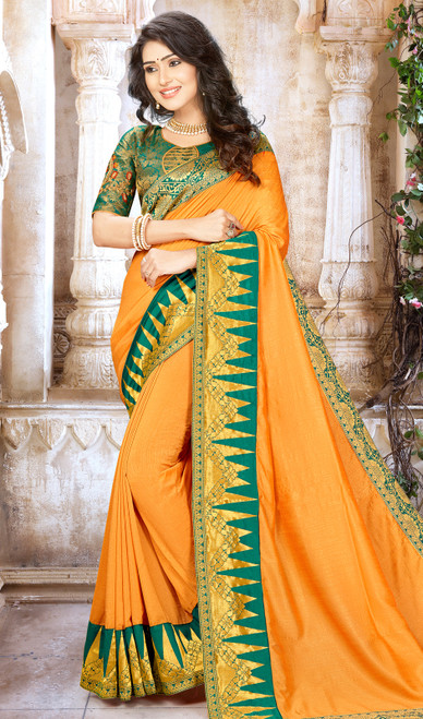 Orange Color Shaded Chinon Sari