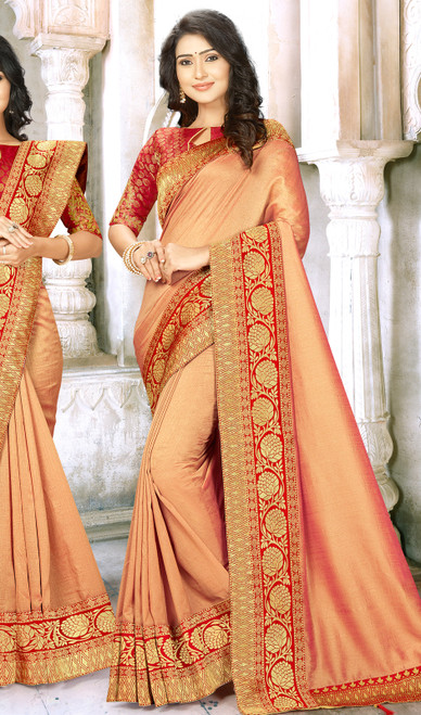Peach Color Embroidered Chinon Sari