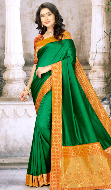 Green Color Chinon Embroidered Sari