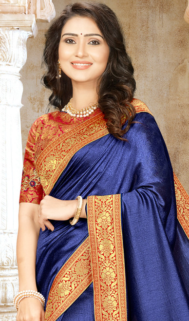 Blue Color Embroidered Chinon Sari