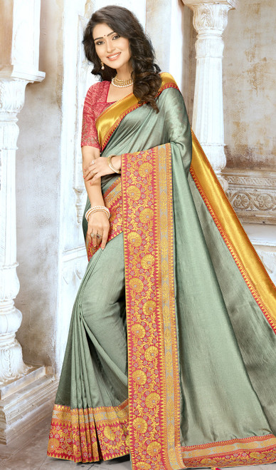 Gray Color Chinon Embroidered Sari