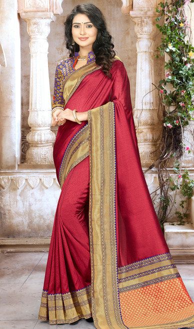 Red Color Shaded Embroidered Chinon Sari