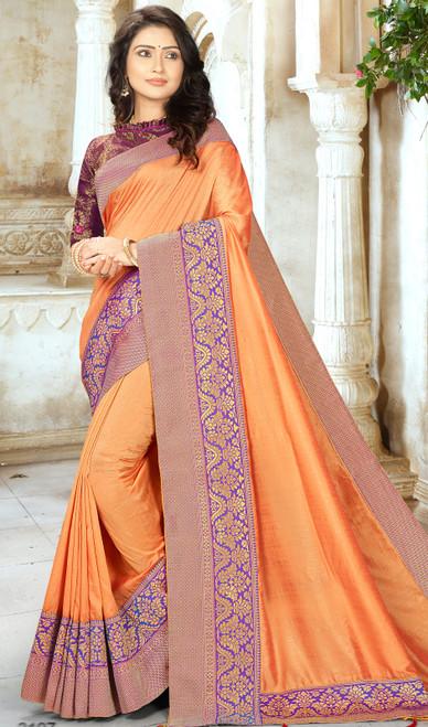 Orange Color Shaded Chinon Embroidered Sari