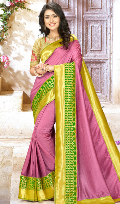 Pink Color Embroidered Chinon Sari