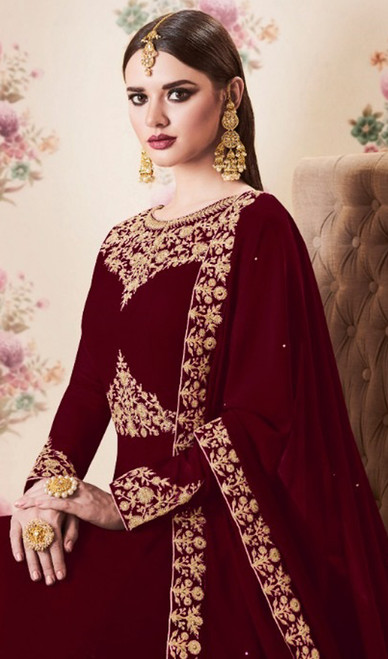 Maroon Color Embroidered Georgette Anarkali Suit