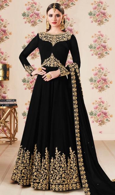 Black Color Georgette Embroidered Anarkali Dress