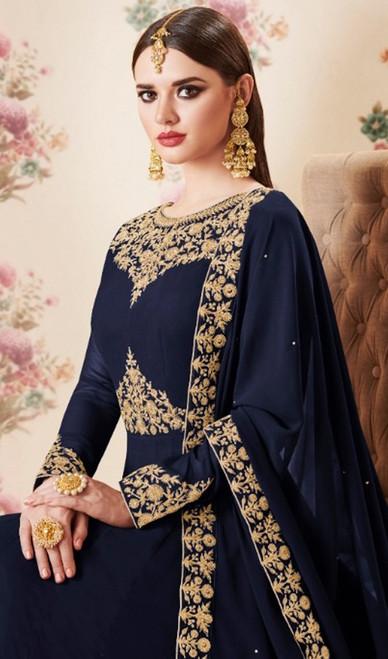 Blue Color Georgette Embroidered Anarkali Suit