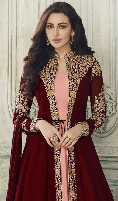 Pink and Maroon Color Georgette Embroidered Suit