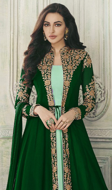 Green Color Embroidered Georgette Long Suit