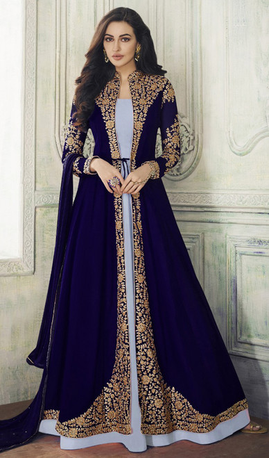 Gray and Blue Color Shaded Georgette Designer Suit