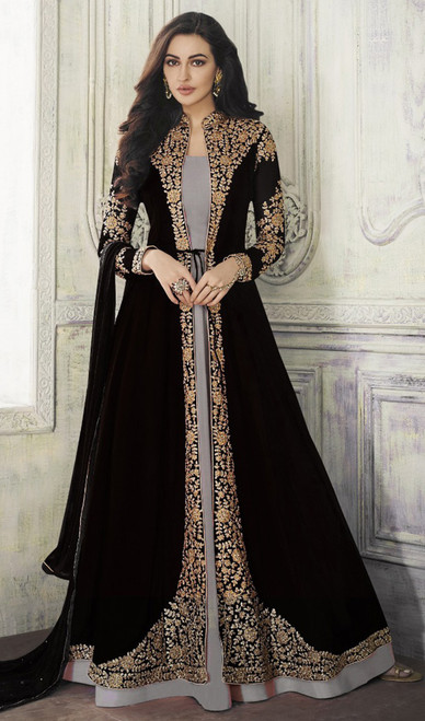 Black and Gray Color Shaded Georgette Long Suit