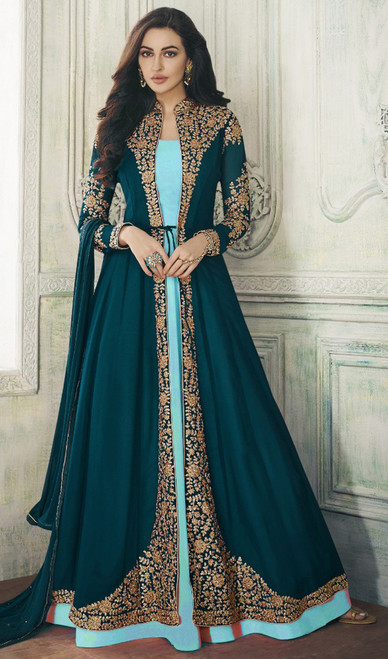 Teel Green Color Shaded Embroidered Georgette Designer Suit
