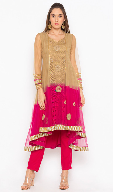 Beige and Pink Color Embroidered Net Tunic
