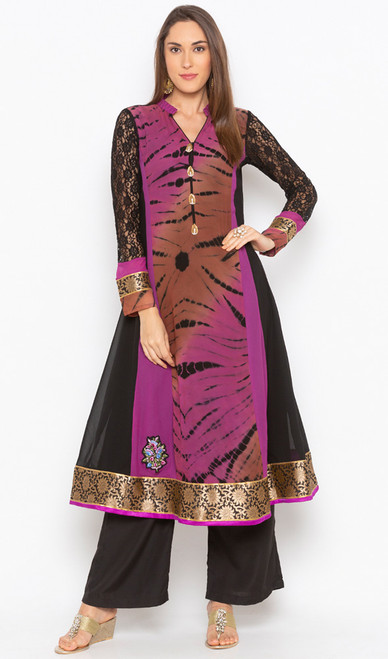 Black and Purple Color Georgette Embroidered Tunic