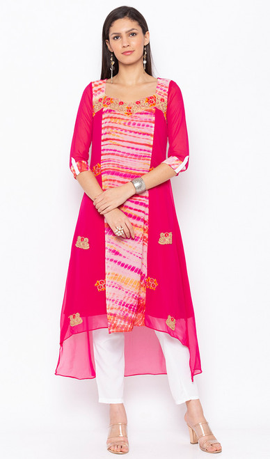 Pink Color Embroidered Georgette Tunic
