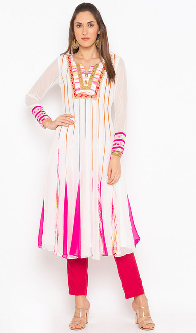 White Color Shaded Georgette Tunic