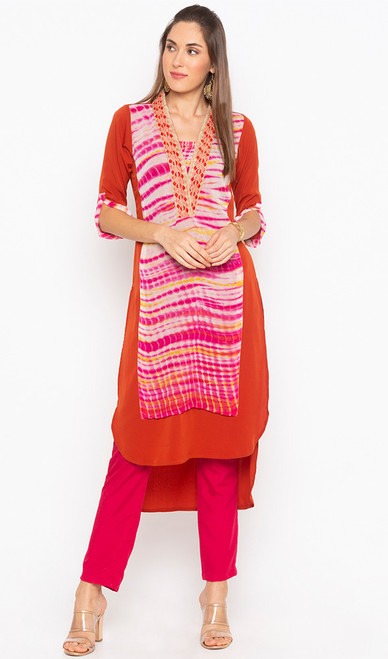 Rust Color Shaded Embroidered Georgette Tunic