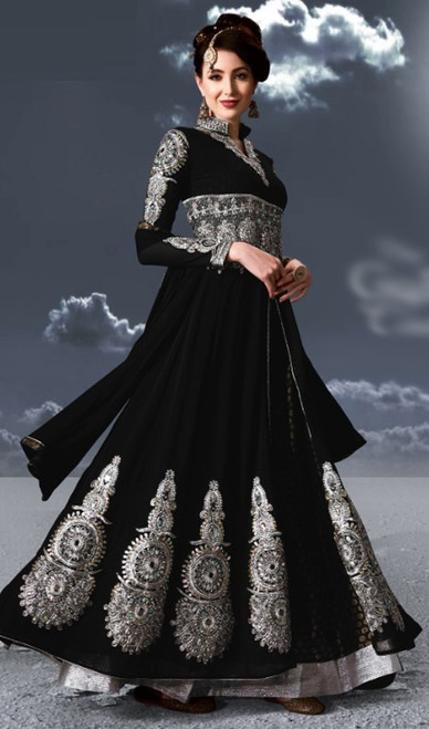Black Color Embroidered Georgette Anarkali Suit