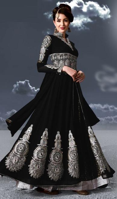 Black Color Embroidered Georgette Anarkali Suit