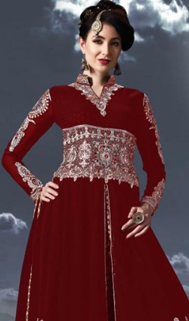 Red Color Georgette Embroidered Anarkali Suit