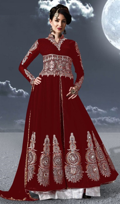 Red Color Georgette Embroidered Anarkali Suit