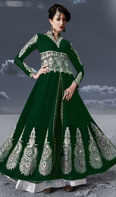 Green Color Anarkali Suit in Embroidered Georgette