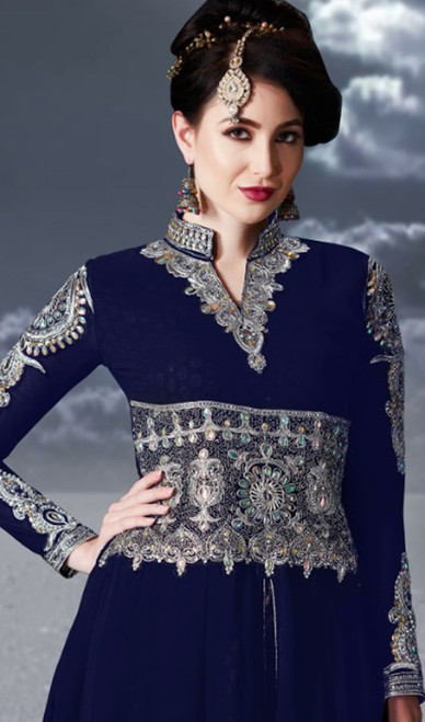 Anarkali Suit, Georgette Fabric in Blue Color Shaded