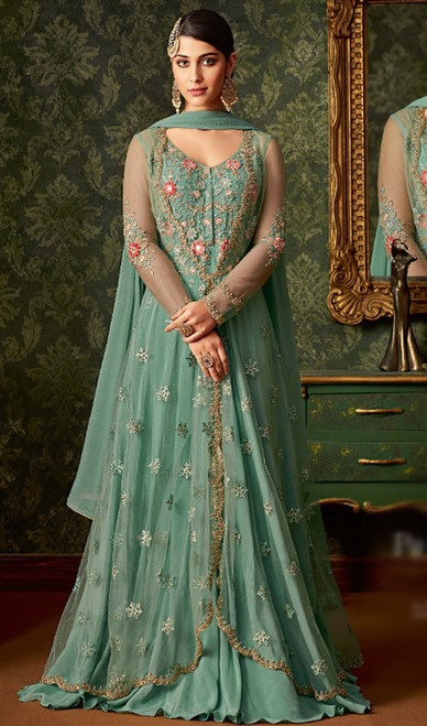 Sea Green Color Net Embroidered Anarkali Suit