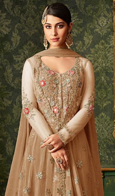 Beige Color Embroidered Net Anarkali Dress