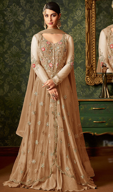 Beige Color Embroidered Net Anarkali Dress