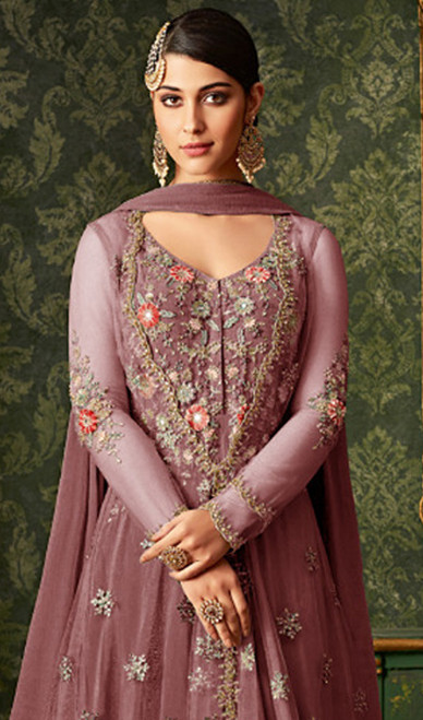 Anarkali Suit Net Pink Color Embroidered