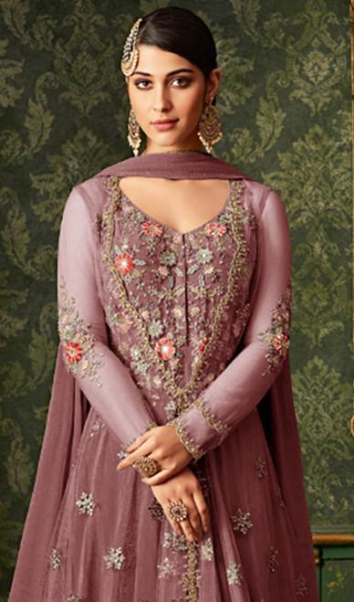Anarkali Suit Net Pink Color Embroidered