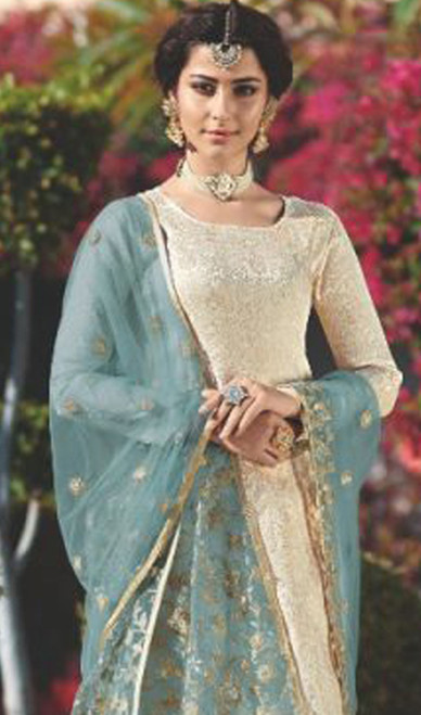 Cream Color Satin Georgette Embroidered Suit