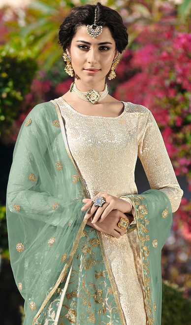 Cream Color Embroidered Satin Georgette Suit