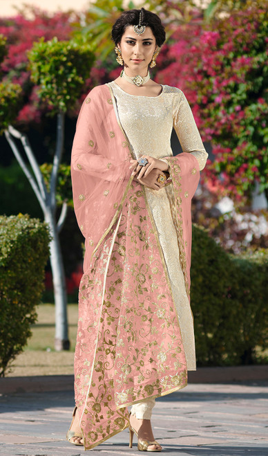 Cream Color Satin Georgette Embroidered Dress