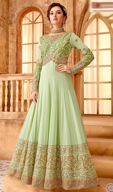 Light Green  Color Georgette Embroidered Anarkali Suit
