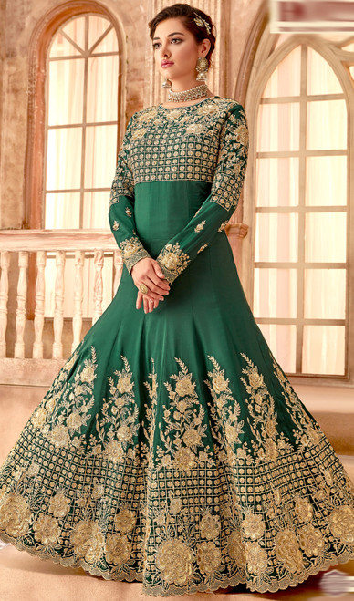 Anarkali Suit in Green Color Embroidered Silk