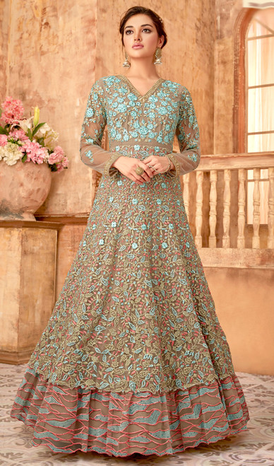 Turquoise Color Shaded Embroidered Net Anarkali Suit