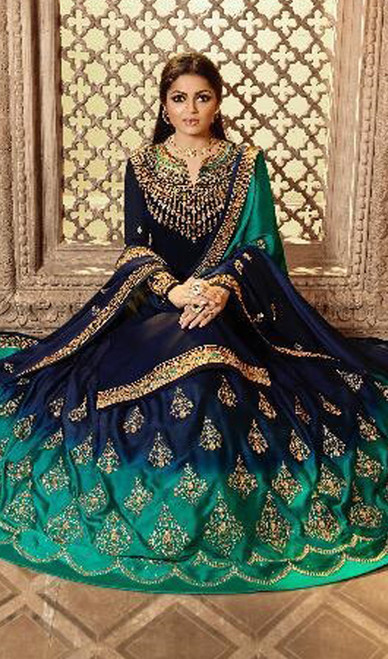 Navy Blue Color Satin Silk Georgette Lehenga Choli Suit