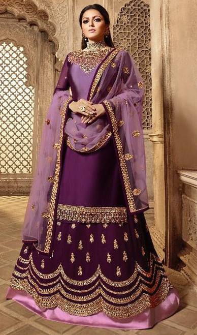 Purple Color Satin Silk Georgette  Suit