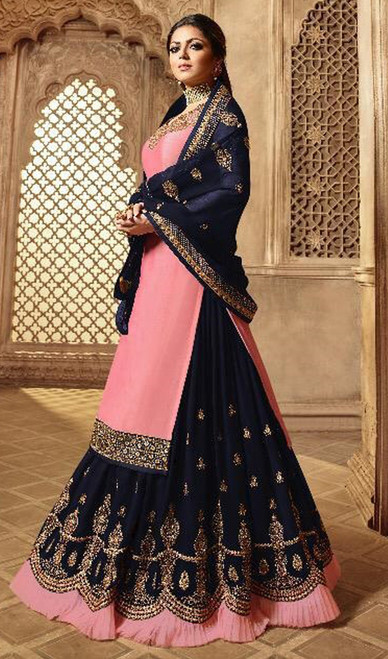 Pink Color Satin Silk Georgette Lehenga Choli Suit