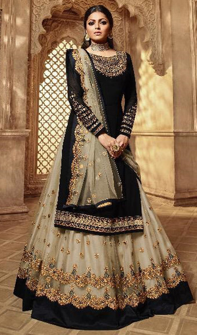 Black Color Satin Silk Georgette Suit