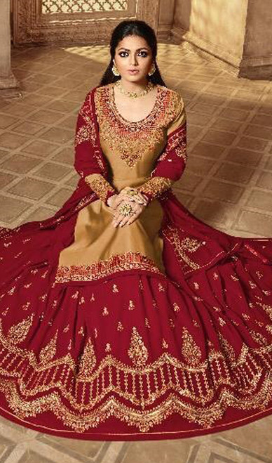 Beige Color Satin Silk Georgette Lehenga Choli Suit
