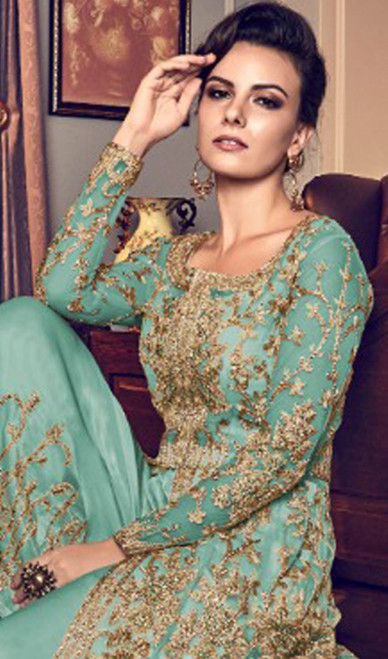 Turquoise Color Embroidered Net Pant Style Suit