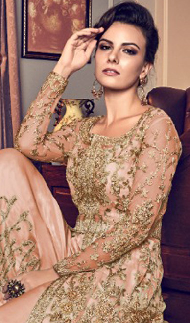 Embroidered Peach Color Net Pant Style Suit