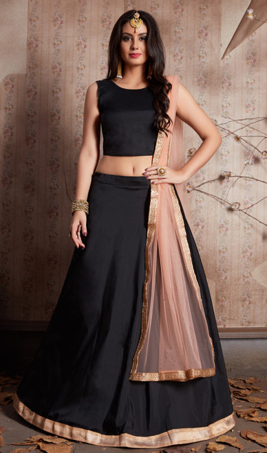 Black Color Shaded Silk Lehenga Cholie