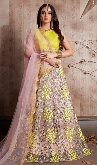 Gray Color Shaded Net Embroidered Lahenga Cholie