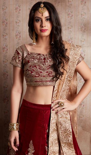 Choli Skirt in Maroon Color Shaded Velvet Silk